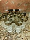 VINTAGE GLASS SET WITH SILVER TRIM, 8 GLASSES WITH ICE BUCKET AND HOLDER