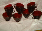 vintage RUBY RED punch bowl / tea cups Anchor Hocking 10 pc lot