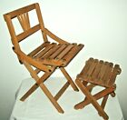 Vintage Childs Folding Fishing Camping Beach Chair slotted wood Chair