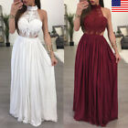 US Women Boho Sleeveless Long Maxi Lace Party Prom Evening Beach Dress Sundress