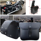 Pair Waterproof Motorcycle PU Leather Saddle Bags Storage Kits Pouch Left