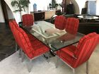 Mid Century Modern 1970s Milo Baughman Dining Set 6 Chairs  Table Chrome