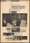HIGH AND LOW Original 1963 Trade AD promo poster AKIRA KUROSAWA TOSHIRO MIFUNE