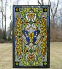 205 x 3475 Handcrafted stained glass window panel Butterfly Flower