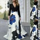 US Women V Neck Long Sleeve Floral Summer Holiday Party Evening Long Maxi Dress