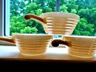 3 Vintage Fire King  Peach Luster Bee Hive Chili/Soup Handled Bowls