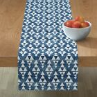 Table Runner Tribal Triangle Native Peace Tie Dye Effect Woven Cotton Sateen
