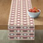 Table Runner Geometric Boho Tribal Native Pink Cotton Sateen