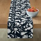Table Runner Wildflowers Summer Native Navy White Floral Aussie Cotton Sateen
