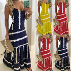 Womens Printing Long Maxi Dress Summer Beach Evening Party Cocktail Sundress US