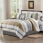 Chezmoi Collection 7 Piece Basket weave Striped Embroidered Comforter Set