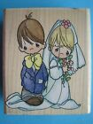 BLESS  KEEP YOU Precious Moments Rubber Stamp BRIDE Groom Wedding Marriage LOVE