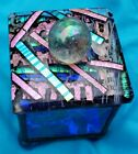 Amingo Artisan Fused Art Stained Glass Mirror Trinket Box Signed Beautiful