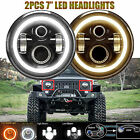 Pair 7 LED Headlights Halo Amber Turn Signal For Jeep Wrangler JK CJ TJ Hummer