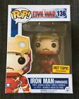 HOT TOPIC 2015 EXCLUSIVE IRON MAN UNMASKED Funko Pop #136 Marvel Civil War