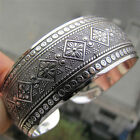 Antic Tibetan Silver Plated Tibet Totem Bangle Jewelry Cuff Wide Bracelet Womev