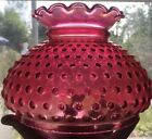 Vintage Cranberry Ruby Glass Hobnail Kerosene Oil Student Lamp Ruffled Top Shade