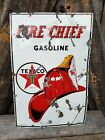 1954 Texaco Sky Chief Gas Pump Plate Sign. Porcelain. 18inx12in