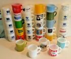34 Vintage Anchor Hocking Fire-King Glass Advertising Stackable Coffee Cup Mugs