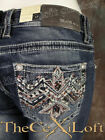 Womens GRACE IN LA Bootcut Jeans Pink  Turquoise Native Embroidery Hot