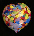 Mad Art Studio muti colored blown Glass Heart Paperweight