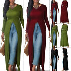Women Casual Slim Long Sleeve Open Front Split Maxi Dress Long Shirt Tops S-3XL