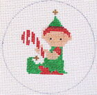 Elf with Candy Cane Christmas Ornament Hand Painted Needlepoint Canvas