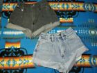 Lot Of 2 VTG 70s Wrangler 24 25 High Waisted Pleated Front Cut Off Denim Shorts