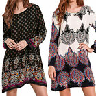 Women's Ladies Boho Plus Size Tunic Short Mini Dress Long Sleeve T Shirt Tops US