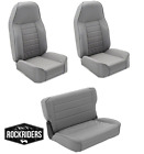 1976-1995 Jeep Wrangler CJ7 Front and Rear Complete Seat Combo Set of Three Gray