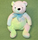 Ty Beanie Buddies MELLOW PASTEL BEAR Stuffed Animal 2001 Blue Bow Soft Rainbow
