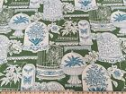 P Kaufmann Green White Floral Cotton Drapery Upholstery Print Fabric