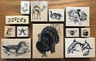 YOU PICK PSX assorted ANIMAL BIRD Wood Mounted Rubber Stamps CATMOUSEBEE