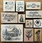 YOU PICK PSX SEASONAL Wood Mounted Rubber Stamps CHRISTMAS FLOWERS PHRASES