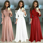 USA Women's Fashion Long Sleeve Maxi Dress Evening Party Button Dowm Shirt Dress
