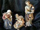 Hand Wood Carved PEMA KOSTNER Nativity Scene Holy Family w Sheep color Italy 9
