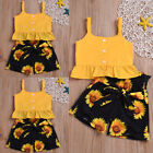 2Pcs Toddler Baby Girl Summer Leisure Ruffle Sling Tops Shorts Outfit Clothes