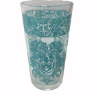 Vintage  Mid Century Turquoise Crest Like Design Drinking Glass Replacement