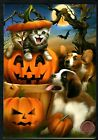 Halloween Cat Dog Kittens Pumpkin Moon Tree Halloween Greeting Card NEW