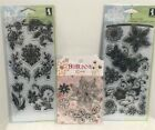 Inkadinkado DAMASK FLOWERS Floral Clear Rubber Stamps Sets Lot of 3