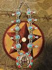 NATIVE AMERICAN STYLE SQUASH BLOSSOM TURQUOISE HOWLITE STONE STATEMENT NECKLACE