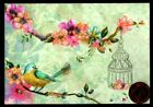 Papyrus Birdcage Bird Flowering Branches GLITTERED Small Blank Note Card NEW