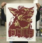 FAILE DOG Red Gold Foil SIGNED Stamped Art Print Poster New York Invasion Poster