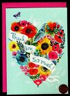 PAPYRUS Heart Flowers Butterfly Ribbon LARGE Greeting Blank Note Card NEW