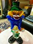 Murano Art Glass Toscany Clown RARE BLACK FACE with BUTTERFLY NET GORGEOUS