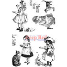 Deep Red Stamps Victorian Girls with Kittens Rubber Cling Stamp