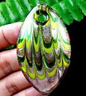 59x32x12mm green lampwork glass olive Pendant Bead A50360
