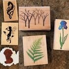 Rubber Stamp Lot Of 6 Wood Backed Stamps Trees Fairy Nature New Or Used Once