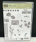 Stampin Up PAINTED PETALS Flowers Sayings Greetings Clear Rubber Stamps Lot Set