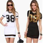 Sexy Women Short Sleeve Bodycon Mini Dress Summer Casual Party T-Shirt Dress